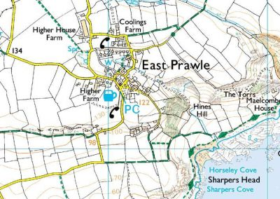 Detailed map of the village of East Prawle