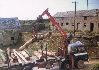 Hauling logs at Lower House Farm before 1988