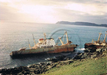 The Demetrios wrecked off Prawle Point 1992.