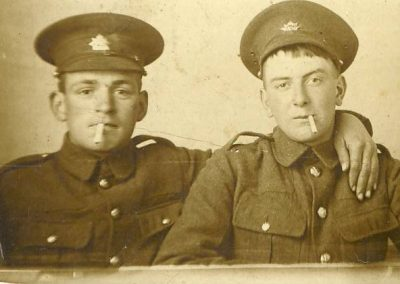 Prawle lads: Bert Stone on right with Percy Herman Putt, Mrs Ford's brother WWI