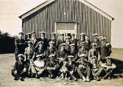 Royal Naval Air Service crew at East Prawle in front of hut 1917 WWI