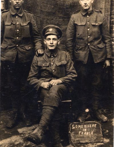 Somewhere in France:  left J P Hannaford, centre P H Putt, right Bert Stone, 25 May 1916 WWI