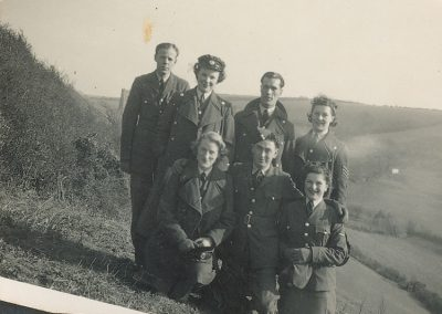 RAF Paddy O'Meara and group in field at  road from Chivelstone Church to South Pool WWII
