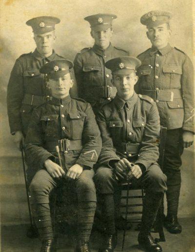 Left back Jim Stone, ?Fernley Baker, Percy Putt, front Bert Stone, Harold Torr  WWI