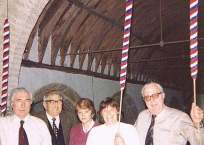 Bell ringers St Sylvester's Church Chivelstone: Bill Blank, Bill Sanders, Susan Cater, Fanny Cater, Jack Rendle, 1980s