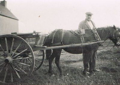 Harry Putt (carpenter) with his cart and  horse on East Prawle green with his name on the cart