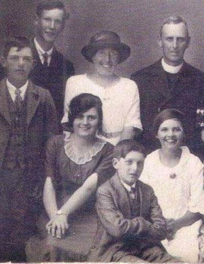 Bessie Wotton, in the hat at the back, started as a teacher in June 1907 and was still teaching 40 years later