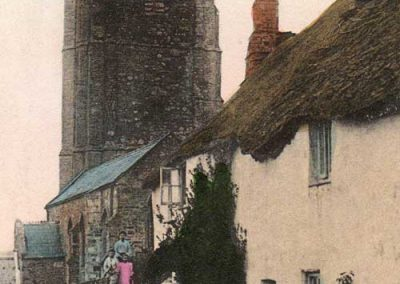 St Sylvester's church, Chivelstone, undated. Ladies in long dresses, no Seven Stars pub sign (closed in 1903)