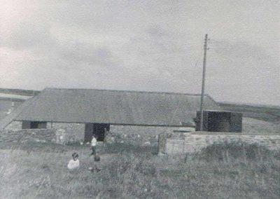 Lower House Farm threshing barn Rosemary Farleigh and Debbie Burton (a holiday maker) August 1963