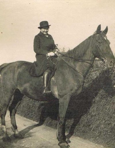 Edith Sawtell/Thorpe riding (Diana Shelvoke's mother) Higher Farm