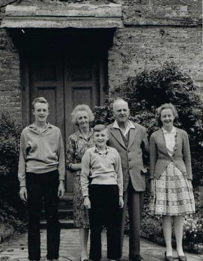 Baker Family photograph about 1960 South Allington, back: Wreford Baker, Louise Baker, front: Edward, Elizabeth and Fernley Baker