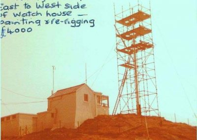 To moving mast from east to west side of watch houses - painting and re-rigging £4000, Prawle Point coastguard lookout (no longer there)