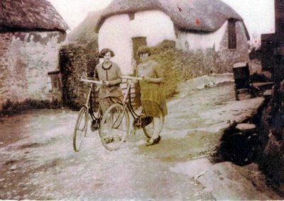 Winnie Easterbrook and Edna Wood outside Locks Farm 1920s