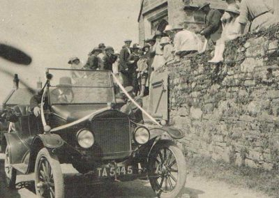 Wedding at Chivelstone Church, St Sylvester's. William Albert Partridge driving the right-hand drive Model T Ford.