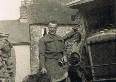 John Francis Tucker with his mother (Frances Ann Tucker) and vanoutside Town Farm, elderly dog