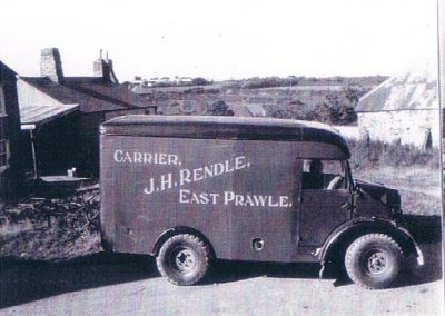 Jack Rendle's van, carrier with RAF camp in the background. Parked opposite Sunnyside cottage and the shop