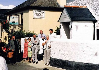 Opening of the Chivelstone Parish Community Hall Vicky Tucker, Roger Tucker, Winnie Easterbrook, Phyllis Wotton and Professor Smith. August 2000