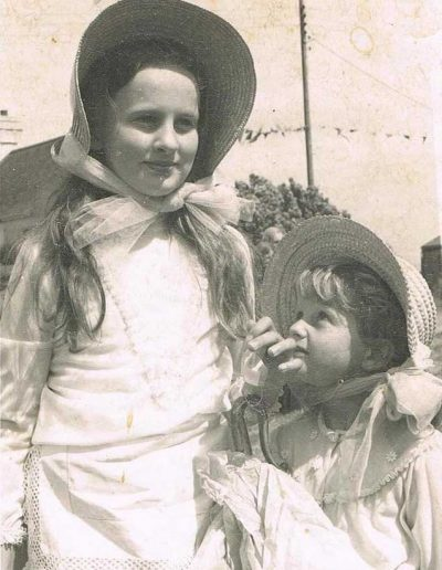 Sarah Trinick and Charlotte Trinick, first of new Prawle fairs, 1974/5?