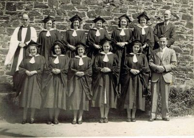 Choir: Eileen Wotton may be in it. Reverend Adkins, Gee Wotton, Winnie Tucker, Alice Stone's mother, unknown, Mary Friend, Mr Jeffery (Lannacombe), Kathleen Weymouth, Eileen Wotton/Putt, Mary Toms, Nancy Hayman, Mary Hayman and Ross Putt, undated