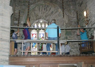 Bell ringing lesson on Open Day at St Sylvester's Chivelstone