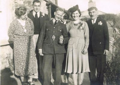 Wedding group: Curly and Vera Robson. Lottie Hannaford, Will Hannaford and Bill Sullock WWII