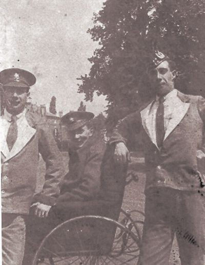 Bert Stone, East Prawle shoemaker, in wheelchair in London recuperating from wounds WWI