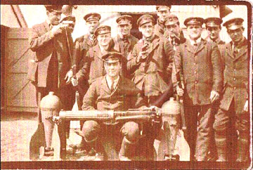 Royal Naval Air Service group with machine gun at East Prawle WWI