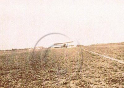 Aeroplane taking off at East Prawle airfield WWI