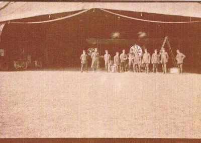 WWI Hanger with aeroplane and people at East Prawle