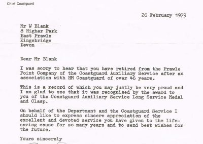 Letter to William (Bill) Blank after an association with HM Coastguard of over 46 years with the Coastguard Auxiliary Service Long Service Medal and Clasp, dated 26 February 1979