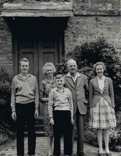 Baker Family photograph about 1960 South Allington, back: Wreford Baker, Louise Baker, front: Edward, Elizabeth and Fernley Baker