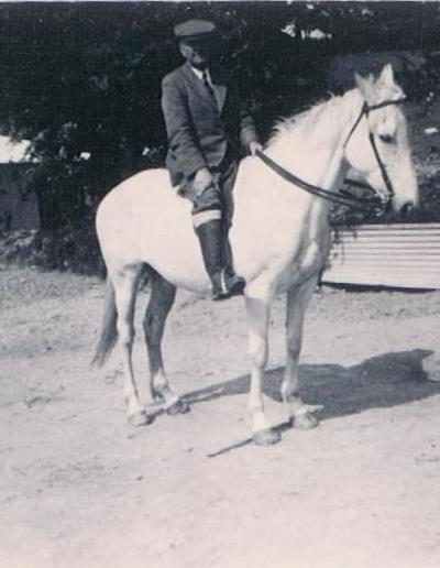 Wreford Baker on a horse (Edward Baker's father) ?South Allington