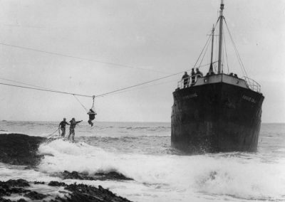 The LSA team rescuing the crew of Friars Craig, 1972