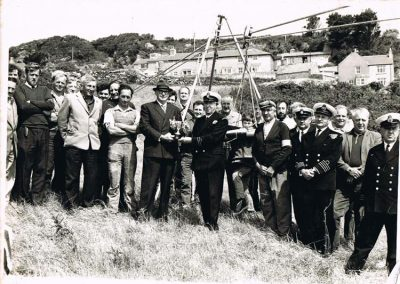 Prawle LSA Rocket Apparatus when they received a cup for being the best company in the Brixham area. Jack Partridge received his belated long service medal, then he presented the cup to station officer John Curry, Sunday 14 June 1970