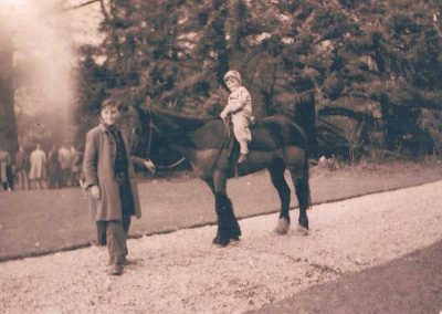 Richard Partridge with his pony Betsy, at South Allington House church fete and Wendy Tabb riding, early 1950s