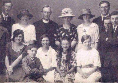 Chivelstone Church Choir 1924. Back row: Tony Paul, Rev Wetternhall, Gee Wotton Second row: Willie Tabb, Bessie Wotton, Olive Old, Charles Putt, Bert Beer, Jack Beer Front row: Lily Cole, Willie Pepperell, Mary Tabb, Winnie Tucker, Amelia Arthurs