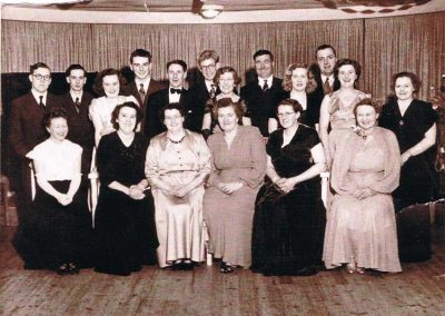 East Prawle Dancing Class mid to late 1950s, Mrs Thorpe far right, Dorothy Tripp next to her, Mrs Logan in the middle, unknown, Diana Thorpe (Shelvoke) far left, far back top right Jack Rendell, in front of him his wife Dorothy