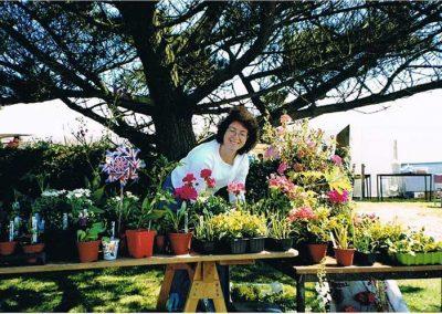Prawle Fair, Jane Bickle (Green Jane) at the plant stall,  2002