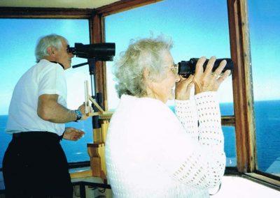 Prawle Point NCI lookout, Winnie Easterbrook with Alan Shearer, 2005
