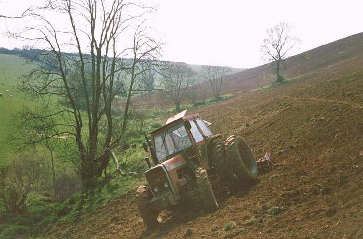 Tractor tilling bottom of Knowle Hill, Brake Hill