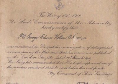 Certificate for Richard Wotton's father George Edwin Wotton ON 188452 being mentioned in dispatches during the war of 1914-191