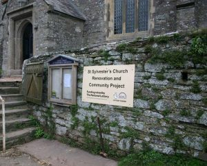 HLF notice outside St Sylvester's Church for Renovation and Community Project