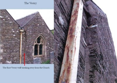 The East vestry wall breaking away from the Church (see the arrow)
