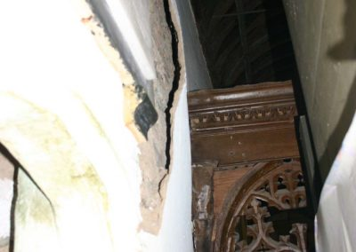 Internal plaster, mainly medieval, damage due to damp penetration