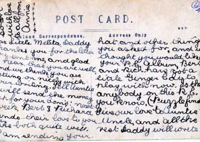 Ventnor Beach reverse message from M.A.(Annie) P Hutchings to Melita Eastman 04.10.1910