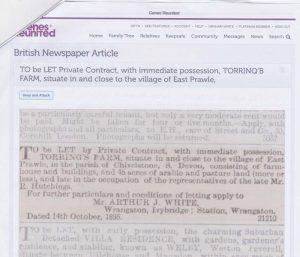 EP Newspaper 1895 Sale of-Torrings after death of Richard Hutchings