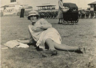 Mary Ann Phillips Bloomfield on the Den,Teignmouth around 1934/5