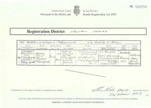 Mary Ann (Annie) Phillips Bloomfield nee Hutchings 1891 - 1935 death certificate