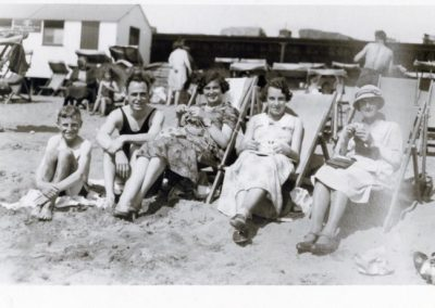 (l/r) Eric Bloomfield, Roy Kevern, Ivy Gordon, Eva Mary Bloomfield and Mary Ann  (Annie) Phillips Bloomfield. Date probably around late 1920's early 1930's and location unknown but probably Devon area.