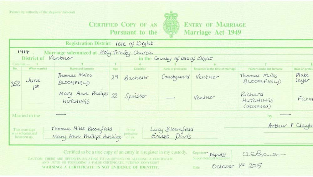 Thomas Miles Bloomfield and Mary Ann Phillips Bloomfield nee Hutchings Marriage Certificate 1914